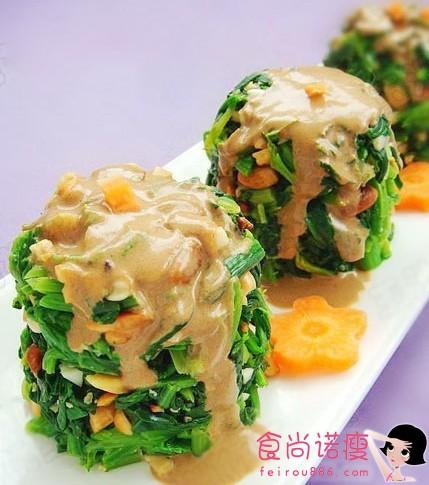麻酱拌花生菠菜